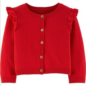 Carter's Red Holiday Cardigan with Gold Buttons